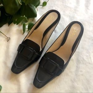 Cole Haan Black Buckle Leather Kitten Heels Narrow